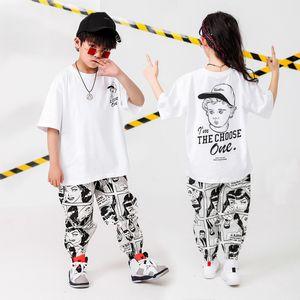 Hip Hop niños Ropa blanca camiseta floja de dibujos animados pantalones ocasionales para los muchachos de las niñas traje de la danza del jazz de Hiphop Equipos desgaste de la ropa