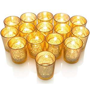 Candelabros para candelabro de mosaico de copa de vidrio plateado con acabado dorado moteado Perfecto único para cada hogar y decoración de bodas XD20507