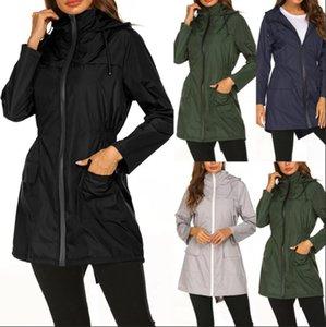 Mujeres al aire libre chaqueta impermeable de verano delgada peso ligero impermeable con capucha al aire libre Senderismo lluvia larga chaqueta de jogging Ropa LJJO7679