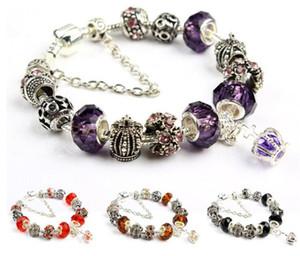 18 19 20 21 centímetros Charm Bracelet 925 Pandor Pulseiras para mulheres Royal Crown Pulseira de cristal roxa Beads DIY jóias