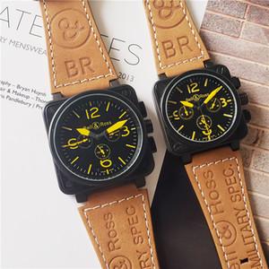 Atacado Mens Mulheres Relógio de Luxo BR Square Designer Movimento Automático Mechnical Relógios Pulseira de Couro Todos Dial Trabalho Casal Esporte Relógio