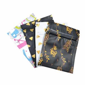 100шт / серия шаблон дизайна алюминиевой фольги пакет мешок Mylar Фестиваль подарков Закуска сухих цветов Хранение Упаковка Мешки 7x9cm