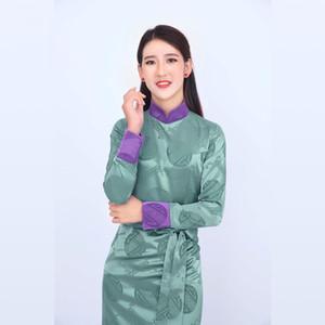 China Ethnic Minority Garment Tibetan Women's Clothing High Quality Thick Silk Materials Nepal Tibet Gown Robe Elegent Lady Purple Green