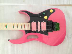 IBZ sur mesure Steve Vai Jem 7V 77 ROSE Guitare électrique Singe Grap, Lion Claw, Pyramide Inlay, Floyd Rose Tremolo Nut Locking, matériel noir