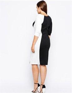 Tasarımcı Bayan Kalem Elbiseler Artı Boyutu Patchwork Renk Uzun Kollu Seksi Bayanlar Bodycon Elbiseler Moda Siyah Kadın Giyim