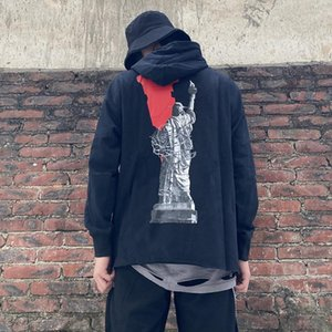 20SS Statue Of Liberty Letter Pinted Hooded Sweatshirt Black White Pullover Hoodie Casual Street Sweater Long Sleeve Black White HFHLWY171