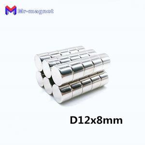 200pcs Néodyme aimant 12x8 Rare Earth petit Fort Ronde permanent 12 * 8 mm réfrigérateur Électroaimant NdFeB nickel aimant DISC magnétique