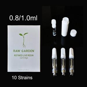 Raw Garden Тележки Vape картридж Упаковка 0,8 мл 1,0 мл Керамическая густое масло Dab Ручки Wax Испаритель Пустой E Сигарета для 510 Thread