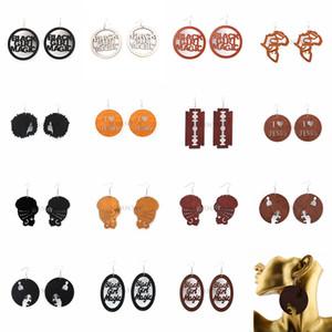 Moda multistyle oco de madeira Brincos Dangle Letters Mapas africanas Feminino Eardrop Madeira Pingente encanto Brincos Para jóias mulheres presentes