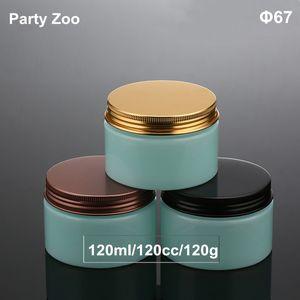 120ML ضوء تيفاني الأزرق كريم جرة Cometic التغليف 120G PET جرة الحاويات البلاستيكية والألومنيوم غطاء بالجملة
