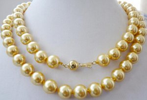 "necklace Free shipping ++++812 32""yellow South sea shell pearl necklace 12MM"
