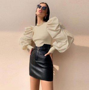 Yeni Lüks Tasarımcı T-Shirt Kadınlar Için Tişörtü Bahar Sonbahar Puf Kollu Lady Kazak 3 Renkler Mevcut