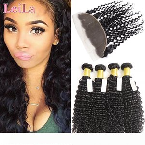 A Malaysian Ear To Ear 13 X 4 Lace Frontal With 4 Bundles Deep Wave Virgin Human Hair Wefts with Closure Frontal Deep Wave