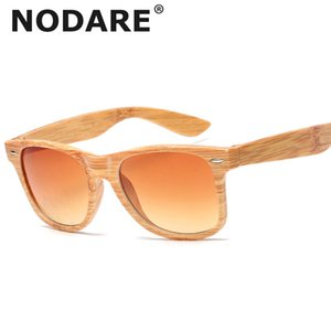 Outdoor Feminino Viaggi NODARE 2020 occhiali da sole donne imitazione legno Occhiali bambù venato Classic Vintage