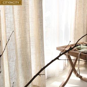 CITYINCITY 거실 용 Tulle 커튼 Modern solid Faux Linen 창 커튼 침실 용 Rideaux 맞춤형 기성품 D19011506