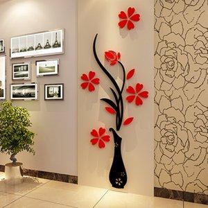 خمر 3D زهرية شجرة زهرة كريستال الاكريليك الجدار ملصق الصفحة الرئيسية غرفة TV ديكور DIY 30 * 80