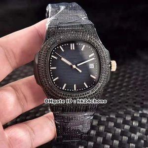 5 Estilo Mejor Nautilus Full Black Diamonds Cal.324 S C Autoamtic Mens Watch 5719 Blue Dial Diamond Diamond Bracelet Gents Watches