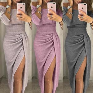 Kadın Kapalı Omuz Uzun Kollu Elbise Slim Fit Seksi Katı BODYCON Moda Akşam Party Club Wear Sıska Midi Elbise