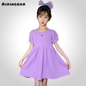 Girl Summer Dress Casual Style Girls Dresses Lantern Sleeve Children Dresses O Neck Costume Girl 6 8 10 12 14czUQ#