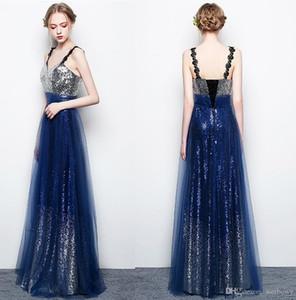 Por encargo 2020 del partido elegante de la estrella de la elegancia vestidos de noche V-cuello halter de la correa del partido de las lentejuelas largo vestidos de baile HY057