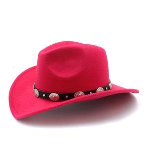 Nouveau chapeau rétro laine enfants hiver d'enfants Fedora Hat pour Garçon Fille Western cow-boy Jazz Cap cuir Toca Sombrero Cap 54CM