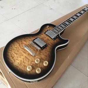 أعلى جودة الغيتار الكهربائي أعلى لهب ، والعرف 60 الغيتار ، روزوود الأصابع 6 لسان gitaar.Mahogany الجسم.