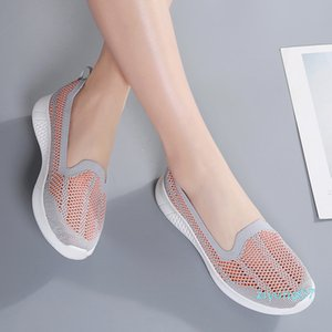 Spring Autumn Women Shoes Women Breathable Mesh Sneakers Shoes Ballet Flats Ladies Slip on Flats Loafers Plus z07
