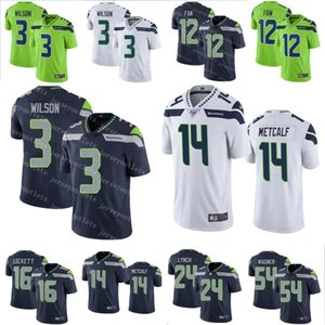 Seattlehalcones Marinos3 hombres Russell Wilson Fútbol 16 Tyler Lockett 24 Marshawn Lynch 54 Bobby Wagner 14 jerseys DK Metcalf 12 Ventilador