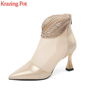 Krazing pot 2020 new sheep leather air mesh pointed toe high heels modern gentlewome sunscreen breathable ankle summer boots L26