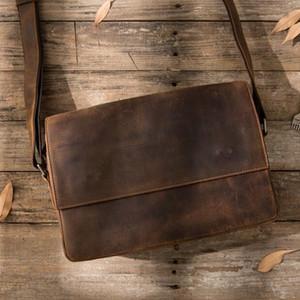 2020 Männer verrückt Pferd Leder-Geldbörse seiner einzigen Umhängetasche Classic Leder Mann Tasche einzelner Schulterbeutel echtes Leder-Handtaschen