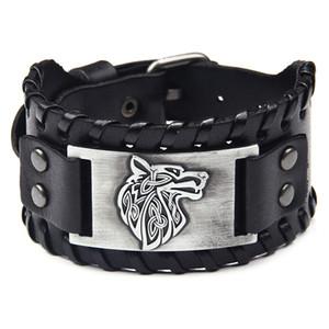 testa di lupo ampia in pelle braccialetto della lega degli uomini popolari nuovo cuoio intrecciato braccialetto dell'annata Bracciale