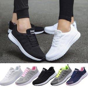 VIERUODIS femmes respirante Mesh Baskets mode Homme Mode Weave Chaussures de sport Antiderapant Chaussures de course Casual Jogging Formateurs Blanc