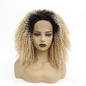 Kadınlar için iki ton siyah Ombre Sarışın Afro Kinky Curl Dantel Açık Peruk Doğal Yumuşak Ucuz Sentetik Peruk