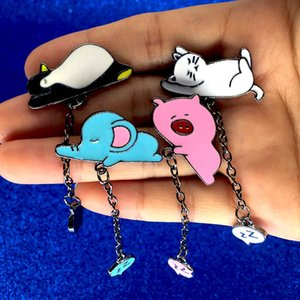 Sleep White Cat Pins Slept Blue Elephant Broches Pink Pig Esmalte Broche Ronquidos Pingüino Joyas Para Mujer niño envío