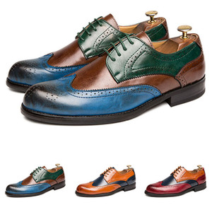 Large size mens Dress shoes leather carved colorful business casual prom flat comfortable wedding good quality size 38-47 one
