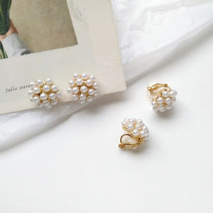 Korean Simple Temperament Imitation Pearl Small Stud Earrings for Women Girl Fashion Beautiful Ear Clip Jewelry Accessories