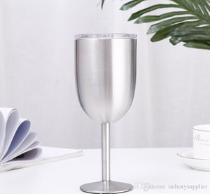 10oz Stainless Steel Goblet Double Wall Goblet Double Wall 304 Stainless Steel Thermos Cup wine glass with lids A06