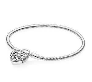 Nouveau original 925 Moments Bracelet en argent sterling Regal coeur Padlock fermoir lisse bracelet serpent Fit perles charme bijoux à la mode