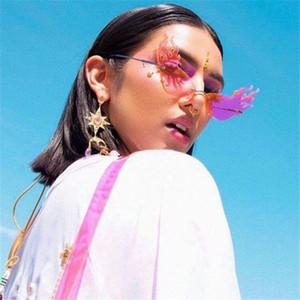 FireWave lunettes de soleil ashion Vague de flammes Lunettes de soleil feu Femmes Hommes Rimless Lunettes de soleil Lunettes luxe Trending Metal Frame Lunettes de soleil