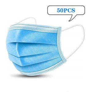 Disposable Fast 200Pcs In Shipping Stock! Dustproof Face 3 Layers Mask 50PCS Facial Cover Blue Masks Free Dhl 2OVZ LY8U 1M9LC