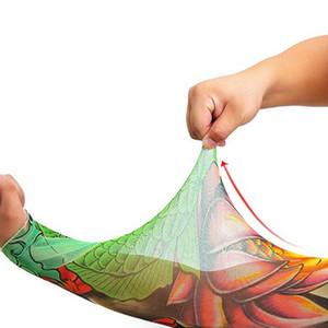 보호 슬리브 남성 소년 야외 스포츠 원활한 나일론 문신 슬리브 탄성 통풍 스킨 인쇄 가짜 문신 암 워머 DH0706