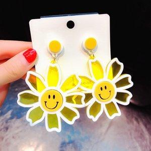 New Design Trendy Acrylic Earrings Big Flowers Drop Earrings for Women Korean Creative Sweet Smile Face Earrings Jewelry