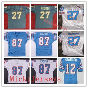 Mens NCAA 1980 Vintage personalizado Oilers Jersey costurado # 12 Ken Stabler # 27 EDDIE GEORGE # 87 Dave Casper Oilers Football Jersey S-3XL