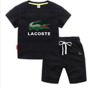 Yeni Sıcak Suit Yaz Erkek Çocuklar Kız Giyim Çocuk Pamuk Harf Kısa Kollu Tişört 2PCS / set Bebek Çocuk Giyim gömlek ayarlar