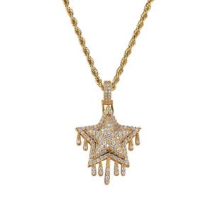 Hip hop yıldız diamonds kolye kolye erkekler kadınlar için batı lüks püskül kolye gerçek altın kaplama 3mm 60 cm Paslanmaz çelik büküm zinciri