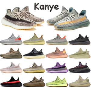 Avec x actions kanye hommes chaussures de course lin zyon Oreo mâchefer hommes réfléchissants statique noir terre Yeshaya yecheil marais femmes chaussures de sport