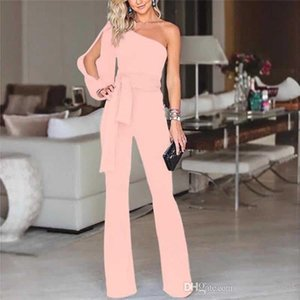 Womens One-Shoulder Jumpsuits Summer Sashes Ribbon Solid Color Rompers Fashion Hot Sale Casual One Piece Bodysuit