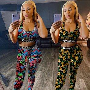 Moda Tasarımı Kadınlar Eşofman Spor İki Adet Kıyafetler Tiger Mayo Malzeme Spor Suit yazdır Yukarı Yelek Crop Top + Tozluklar Pantolon itin