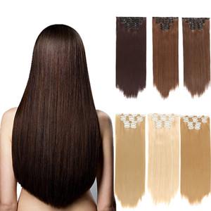 """Atacado Grampo de cabelo colorido em extensões de cabelo sintético 24"""" reta longa peruca de cabelo para o transporte Mulheres 140g Gota"""