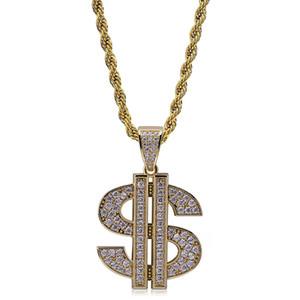 Mens 18K chapado en oro US Dollar Symbol $ heló hacia fuera cúbico Zircona colgante personalizado Hip Hop collar de cadena de joyería Roca regalos de cumpleaños